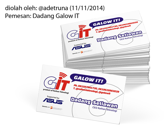Nama pemesan kartu nama print on demand (PoD) : Dadang Setiawan dari Ciwidey