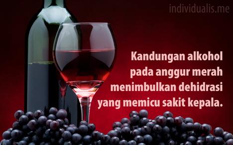 Kandungan alkohol pada anggur merah menyebabkan dehidrasi bagi peminumnya hingga memicu sakit kepala