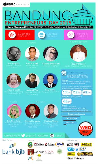 seminar bisnis yang mencerdaskan, menginspirasi, dan memperkuat mental bisnis anda bersama Bandung Entrepreneurs Day 2015.
