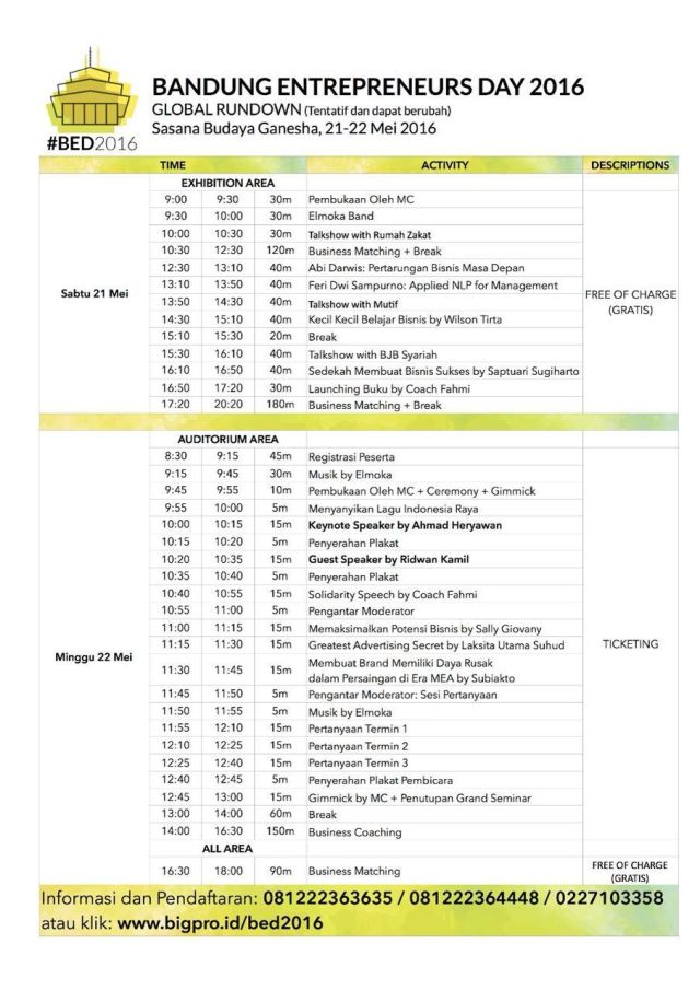 Rundown Bandung Entrepreneurs Day 2016