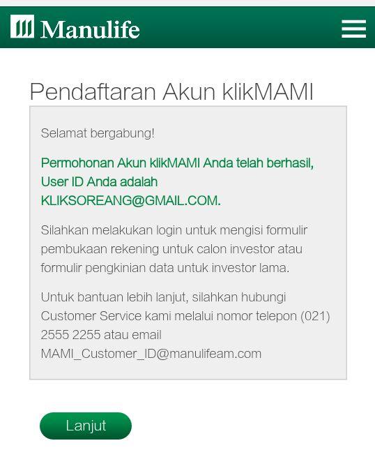 pendaftaran Akun klikMAMI Manulife