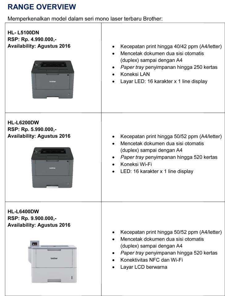 Range overview printer brother mono laser agustus 2016
