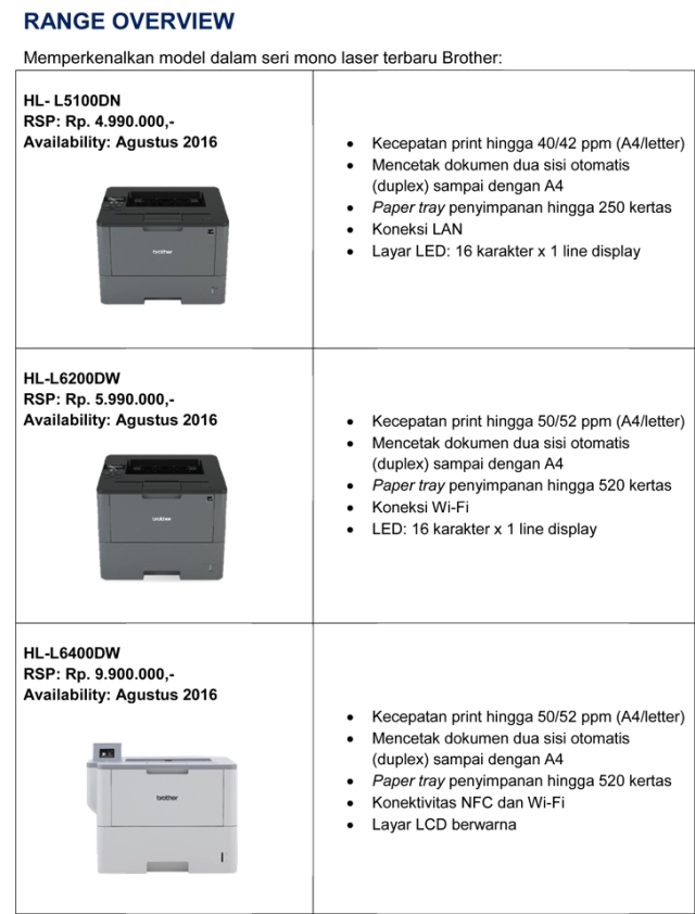 Range overview printer brother mono laser agustus 2016
