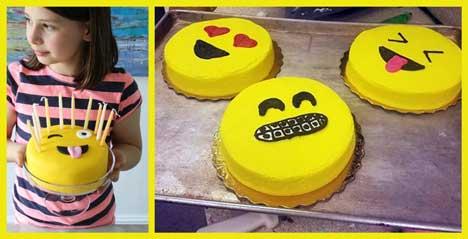 cakemoji kue ulang tahun dengan tema emoji